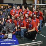 The Vestaburg FIRST Robotics team, the Vestabots, in red shirts, are advancing to the state finals competition at Saginaw Valley State University today and Sunday. The team won the Gracious Professionalism award at last weekend's event in Shepherd; an award which recognizes teamwork, a positive attitude and communication. — Courtesy photo