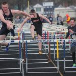Lakeview's Dan Jaquays, left, and Jeremiah Ropeleski, right, go over the final hurdle during the 110-meter hurdles event against White Cloud on Tuesday.