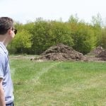On Tuesday afternoon, Lakeview Village Manager Shay Gallagher stops by the black dirt site on Golf Park past Lakeview Airport-Griffith Field to see how much dirt is available and how the new arrangement will work. — Daily News/Meghan Nelson