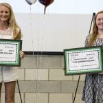 Kiersten Reeves, 18, left, and Madison Willmore, 18, were each presented with $500 scholarships from the Montcalm Area Human Resource Association prior to the association's meeting on Wednesday. — Daily News/Emilee Nielsen