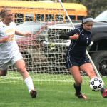 Savanna Wilson, left, is one of many Tri County soccer players who Vikings coach Vic Matulis sees as a leader this year. Wilson is one of only three seniors on the team.