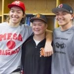"Three Belding baseball players joined together to sign their letters of intent to continue their baseball careers into college Thursday. Logan Campbell, left, will play ball at Mesa Community College in Arizona, Anthony ""Ant"" Baltruczak will play at Olivet College, and Dylan McMaster signed to play with Concordia University. (Daily News 