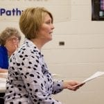 Montcalm Area Intermediate School District Finance Director Stephanie Weese presented budget proposals and amendments to the Montabella Board of Education on Monday. —Daily News/Meghan Nelson